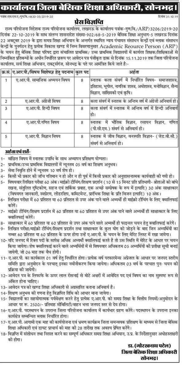 Sonbhadra : ARP पद के चयन के लिए विज्ञप्ति जारी, देखें विज्ञप्ति निर्देश