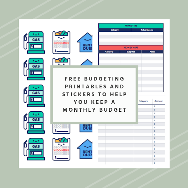 Free budgeting printables and stickers to help you keep a monthly budget