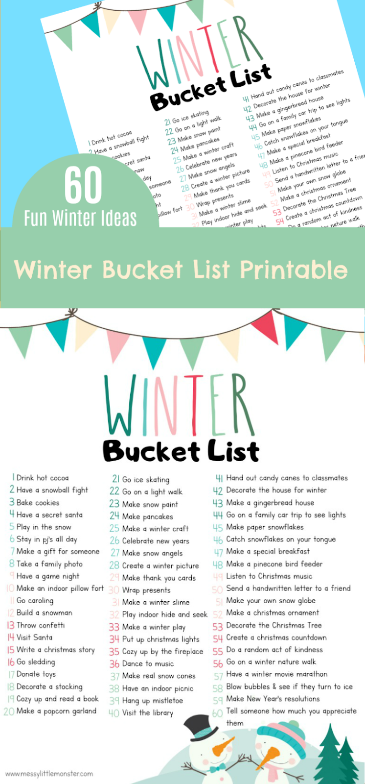 Free printable winter bucket list for kids