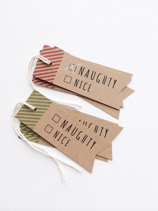 Naughty or nice holiday christmas tags by Print Smitten on Etsy