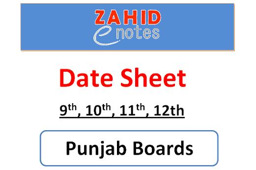 9th, 10th, 11th, 12th, class date sheet 2021 pdf punjab board