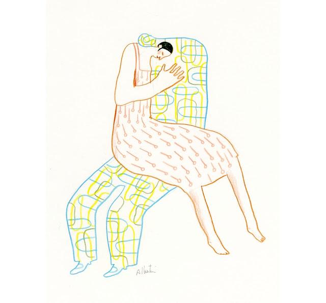 """Dibujo """"Mon amour"""" de la pintora y artista suiza Albertine"""