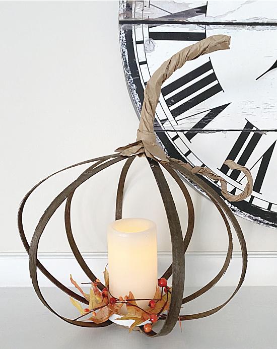 Pumpkin lantern on mantel