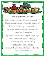 Year Long Articulation Therapy Bundle Monthly Printout List Example