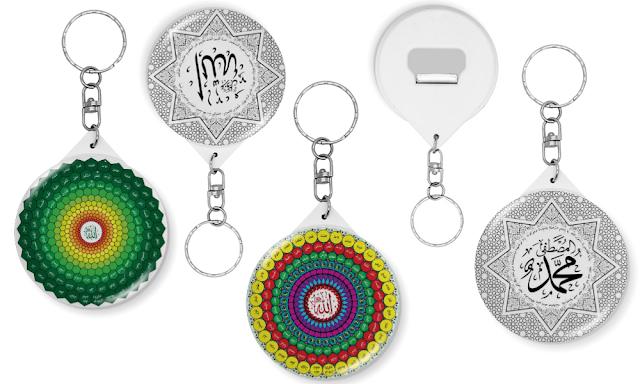 Pin Gantungan Kunci atau Tas Gambar Kaligrafi
