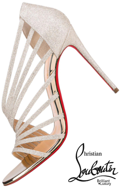 Brilliant Luxury♦Christian Louboutin Norina Ivory Glittered Open-Toe Sandals #shoes #sparkle
