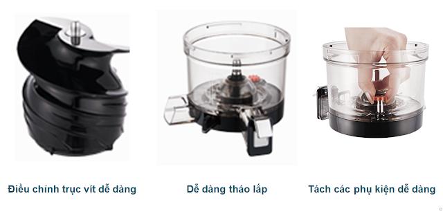 Máy ép chậm - HUROM BLOSSOM, Điều chỉnh trục vít dễ dàng, Dễ dàng tháo lắp, Tách các phụ kiện dễ dàng mua tại lgvietnam.top