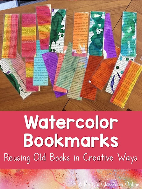 Don't throw your old books away. Upcycle & reuse them to make new bookmarks with your students. All you need are some watercolor paints & old books.