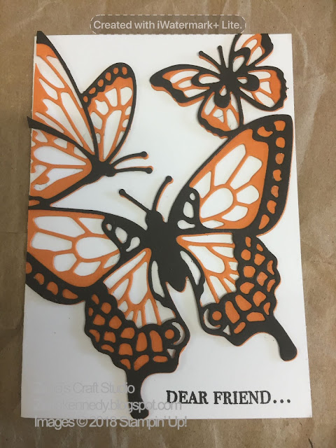 All finished butterfly card at the Catalogue Launch