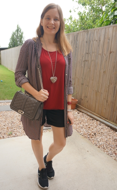 collarless shirt dress worn unbuttoned over shorts and tee for different way to wear burgundy and black outfit | awayfromblue