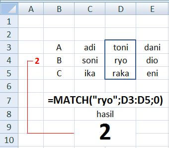 Formula MATCH excel