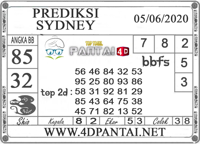 PREDIKSI TOGEL SYDNEY PANTAI4D 05 JUNI 2020