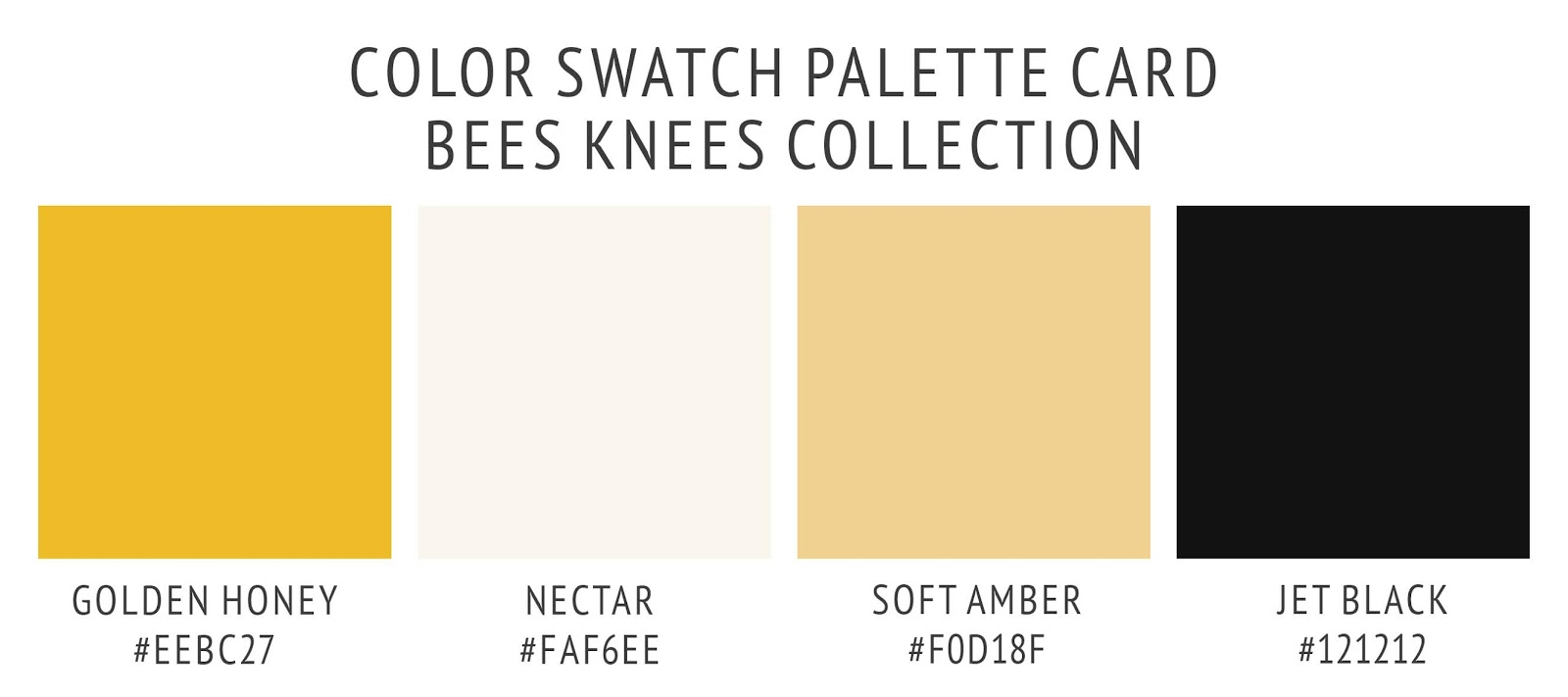 Color palette swatch card for the bees knees collection. In golden honey yellow, soft amber, nectar, and jet black. A warm summer color scheme.