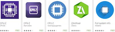 Aplikasi Cek Smartphone Yang Muncul Google Play Store Saat Kata CPU-Z dimasukkan sebagai Kata Kunci