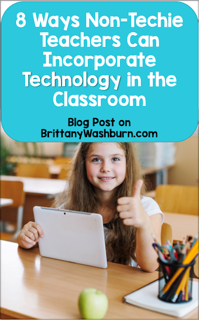 "Here are some user-friendly, innovative ways that even non-techie teachers can integrate technology in the classroom. These things that don't have a big learning curve, and that can be implemented without adding stress.    But first, survival tips when trying any new technology:  Don't worry about mastering everything.  Pick one or two things to focus on getting better at this year.  Don't compare yourself to the teacher down the hall.  There will always be someone who is doing more with technology, or doing it ""better"".  So what?  Don't be afraid to ask for help.  If there isn't someone at school, get connected with an online community like my Facebook Group.  Expect to work some bugs out.  I don't know about you, but most new things I try need some polishing.  Don't be afraid to stop using something that doesn't work for your classroom (just be sure you've given it a fair chance)."
