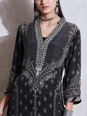 Ritu Kumar Black Lvory Printed suit Front