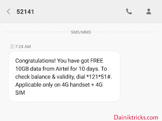 Airtel 10gb free internet offer