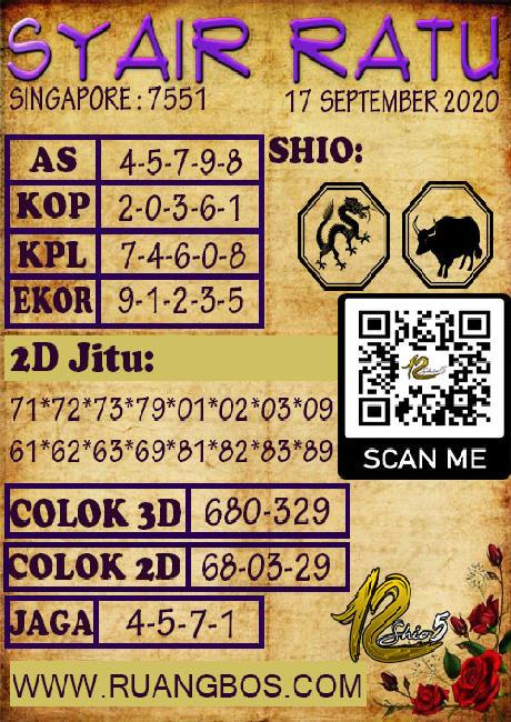 Kode syair Singapore Kamis 17 September 2020 138