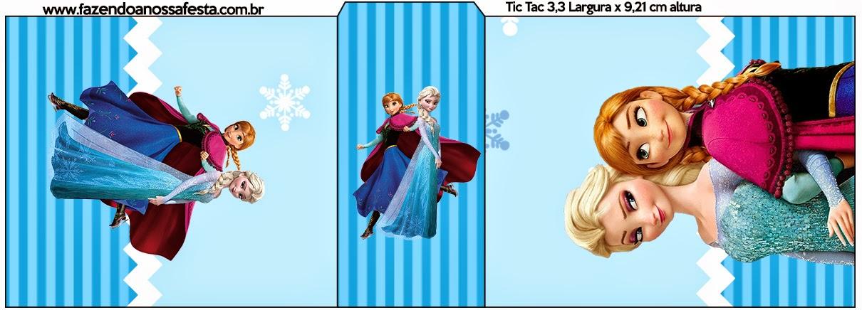 Etiqueta Tic Tac de Frozen Navidad Azul.