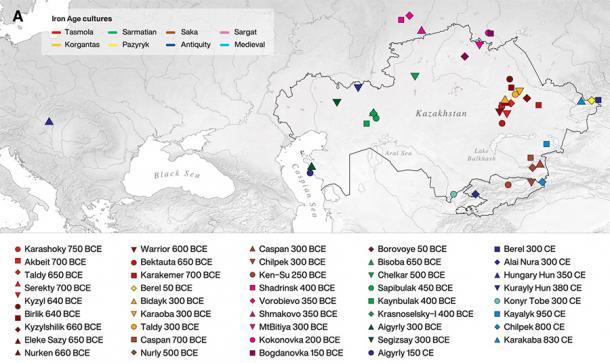 Mappa che mostra le posizioni dei 39 siti archeologici dove sono stati recuperati i 117 individui nella ricerca pubblicata su ScienceAdvances e i cui dati genomici sono stati analizzati e hanno portato alla conclusione che gli Sciti devono aver avuto relazioni amichevoli con le culture che hanno incontrato.