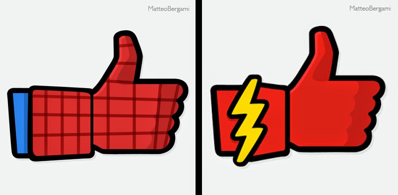 14-Spiderman-&-The-Flash-Matteo-Bergami-Facebook-Hand-Thumbs-Up-Art-www-designstack-co