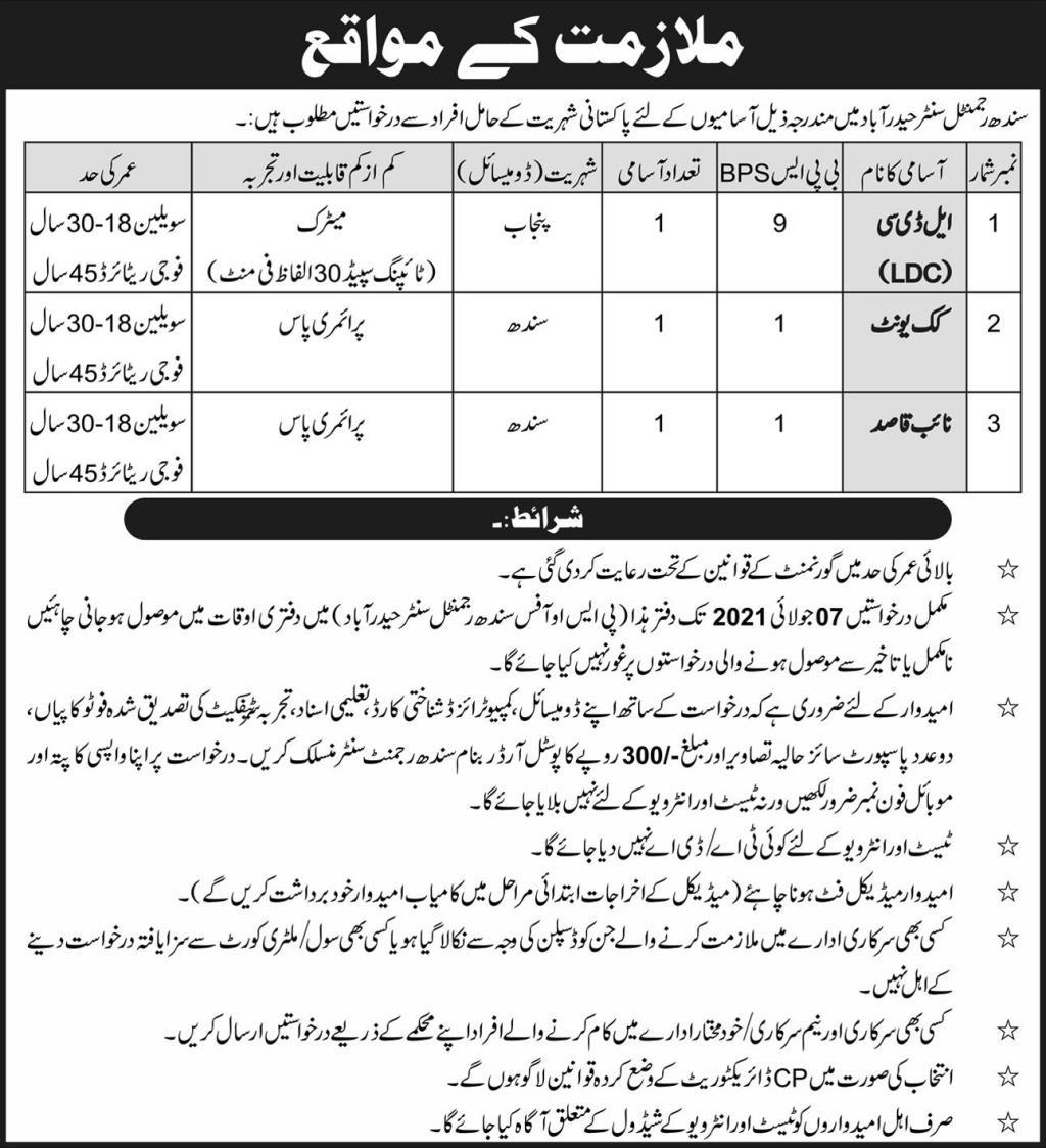 Sindh Regimental Center Hyderabad Jobs 2021