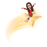 Miss Lawrence's Bitmoji avatar, a woman in big glasses with long brown hair and wearing a red dress, rises a shooting star.