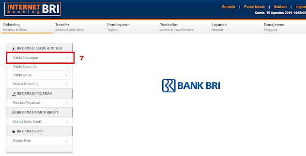 Cara Cek Saldo Rekening BRI di Internet Banking BRI - Menu Saldo Tabungan Internet Banking BRI