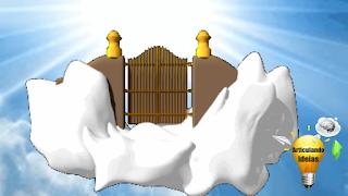 Porta no céu em meio as nuvens