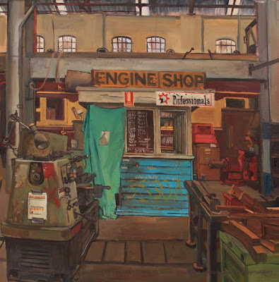 plein air oil painting of the interior of the Large Erecting Shop, Eveleigh Railway Workshops by industrial heritage artist Jane Bennett