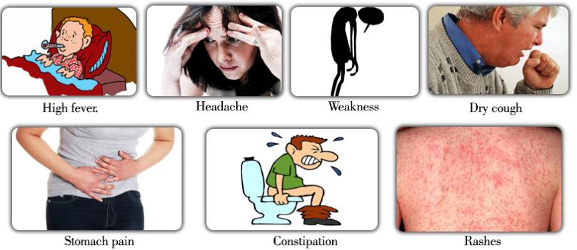 टायफायड  के रोग का लक्षण