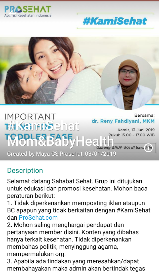 Grup Diskusi WA : *Important thing for toddler fase* Kamis, 13 Juni 2019 (15.00-17.00 WIB)