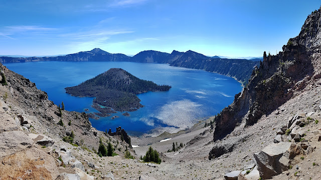Crater Lake's rocky shoreline