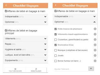 exemple checklist bagage repliée et dépliée