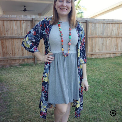 awayfromblue Instagram | Jeanswest Melanie floral kimono with grey skater dress bright Ruby Olive necklace