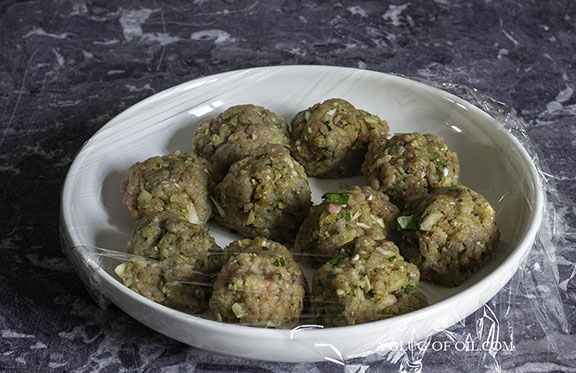 Meatballs covered in clingfilm