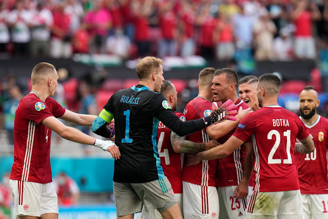 Hungary players after draw vs France at Euro 2020