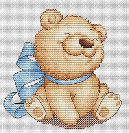 schema punto croce per bambini- orsetto con fiocchi azzurri