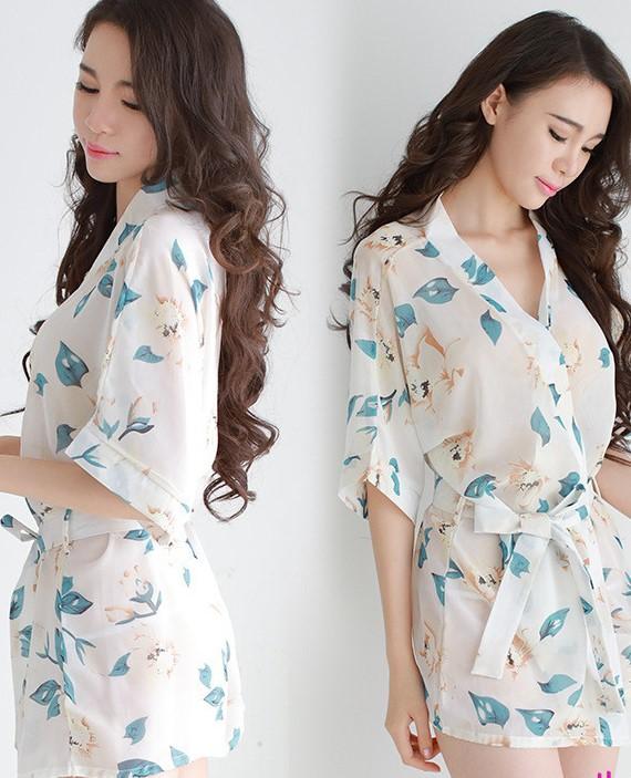 Áo choàng nữ kimono voan hoa gợi cảm