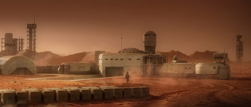Mars base concept art for Ad Astra movie by Jonathan Bach (ground level view)