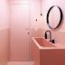 Lavabo todo rosa com acessórios pretos!