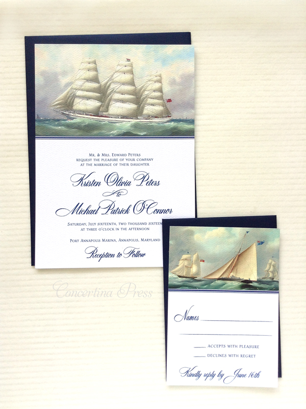 Sailboat Wedding invitation featuring antique oil paintings of merchant ships perfect for a beach wedding