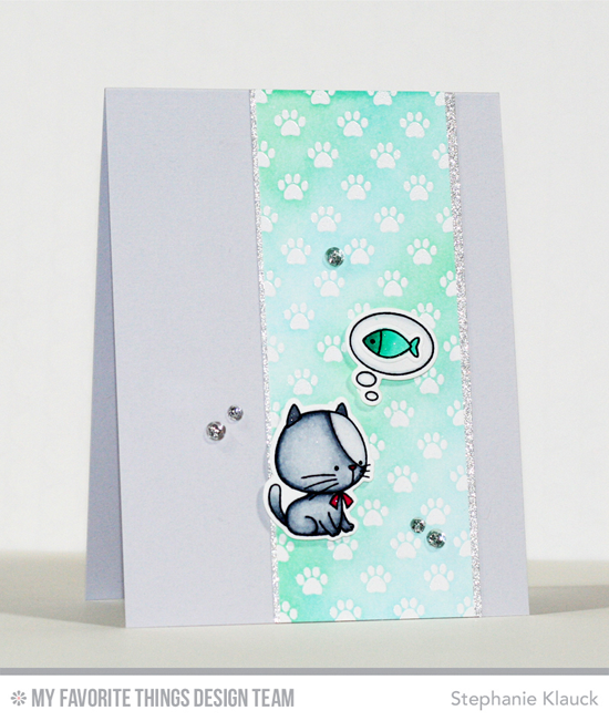 Kitty Thoughts Card by Stephanie Klauck featuring the Birdie Brown I Knead You stamp set and Die-namics and the Paw Print Background stamp #mftstamps