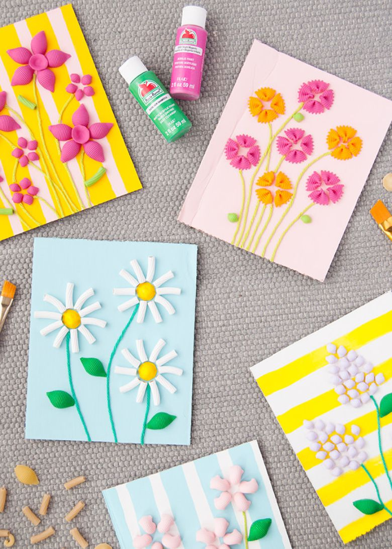 Pasta flowers Mother's Day card for kids to make