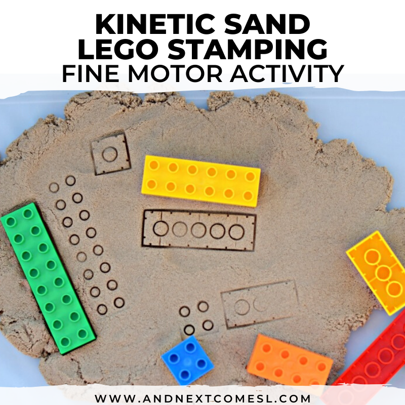 LEGO stamping kinetic sand activity