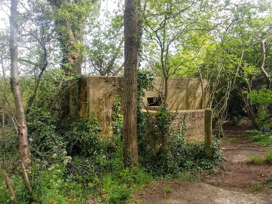 A WWII pill box on the left of Shenley footpath 10