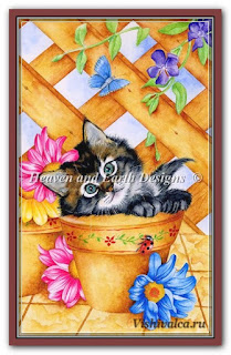 Cross stitch chart «KAM 503 Mini Trellis Kitty - artwork by Karen Middleton»