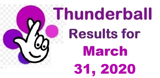 Thunderball Results for Tuesday, March 31, 2020