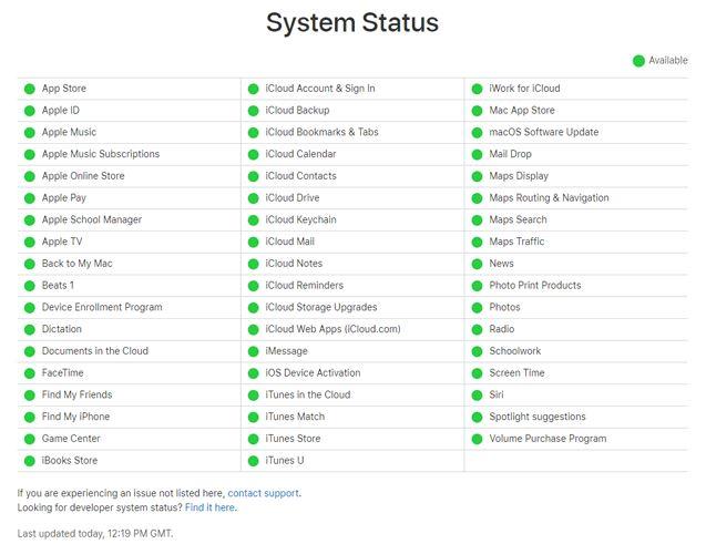Periksa Halaman Status Sistem Apple