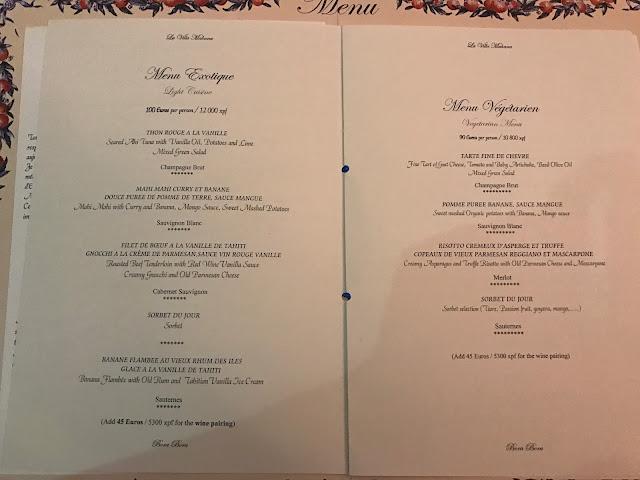 環遊世界|大溪地|La Villa Mahana餐廳菜單 menu - Menu Exotique
